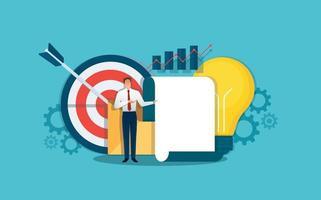 Businessman making a presentation, business analyst. Vector illustration