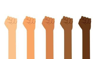 Different skin colors fist hands rise up. Empowering, Labor day, humans right, fight concept vector