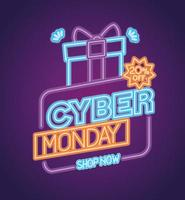 cyber monday neon with gift vector design