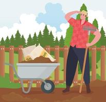 Mann jardinería al aire libre con diseño de vector de carretilla y rastrillo