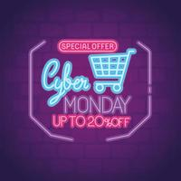 cyber monday neon with cart vector design