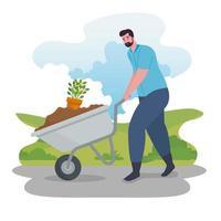 Man gardening outdoors with wheelbarrow vector