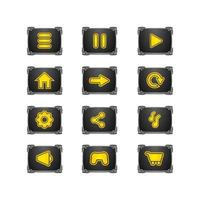 Stone game ui button set design vector isolated on white background