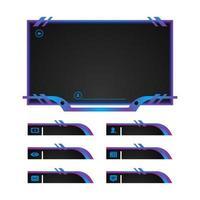Gradient streaming screen overlay panel design vector