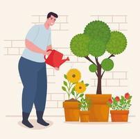 Hombre jardinería al aire libre con regadera vector