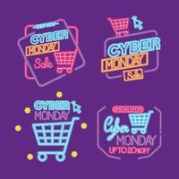 Cyber Monday neon sale icon set vector