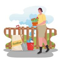 Woman gardening outdoors vector