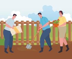 People gardening outdoors vector