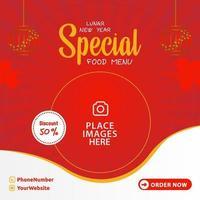 Special lunar food menu banner design template promotion vector