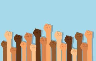 grupo de puños levantados en el aire. grupo de manifestantes puños levantados en el aire ilustración vectorial