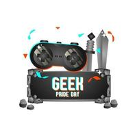 Geek pride day stone concept design vector