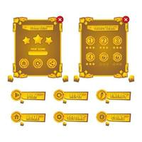 Gold stone game asset set interface design vector