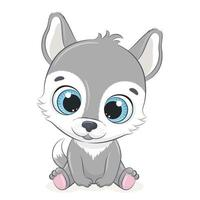 Cute baby wolf. Vector illustration