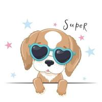Animal illustration of cute girl dog with glasses. vector