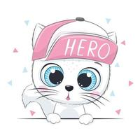 Animal illustration with cute kitten in cap. vector