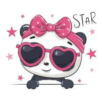 Animal illustration with cute girl panda with glasses. vector