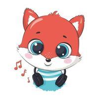 niño lindo zorro de dibujos animados con auriculares escuchando música vector