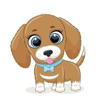 Animal illustration with cute little dog. vector