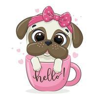 Ilustración animal con lindo perrito en taza. vector