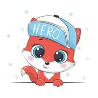 Animal illustration with cute boy fox in cap. vector