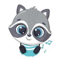 niño lindo mapache de dibujos animados con auriculares escucha música vector