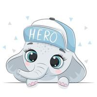 Animal illustration with cute boy elephant in cap. vector