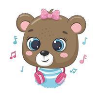 linda chica oso de dibujos animados con auriculares escucha música vector