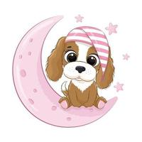 Cute baby dog sitting on the moon. Vector illustration