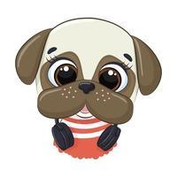lindo perro de dibujos animados con auriculares escucha música vector