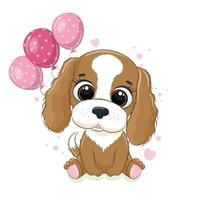 Happy birthday greeting card with dog and balloons. Vector illustration