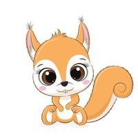 Cute baby squirrel. Vector illustration