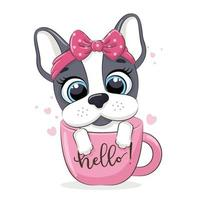 Animal illustration with cute little dog in cup. vector