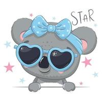 Animal illustration with cute girl koala with glasses. vector
