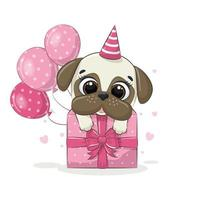 Happy birthday greeting card with dog. Vector illustration