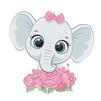 lindo bebé elefante de verano con flores. ilustración vectorial vector