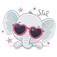 Animal illustration with cute girl elephant with glasses. vector