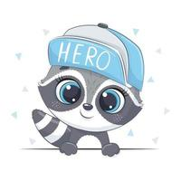 Animal illustration with cute raccoon in cap. vector