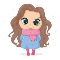 ilustración de una niña con un abrigo y una bufanda vector