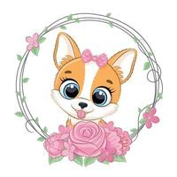 Cute summer baby dog with flower wreath. Vector illustration