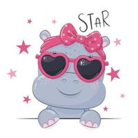 Animal illustration with cute girl hippo with glasses. vector