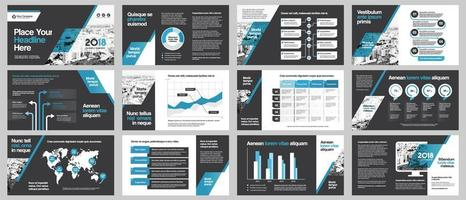 City Background Business Company Presentation with Infographics Template. vector