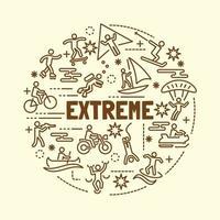 conjunto de iconos de línea delgada mínima de deportes extremos