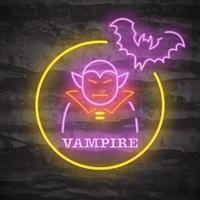 Vampire Halloween Night Neon Logo vector
