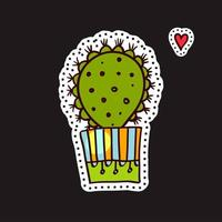 Fashion patch, cute cactus in pot with red heart vector
