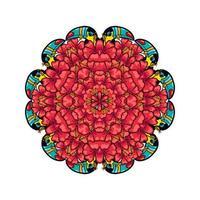 ornamento redondo estilo psicodélico de los años 60 plantas tropicales y vector