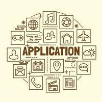 aplicación mínima conjunto de iconos de línea fina