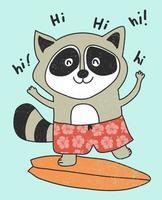 Hand drawn cute raccoon illustration vector
