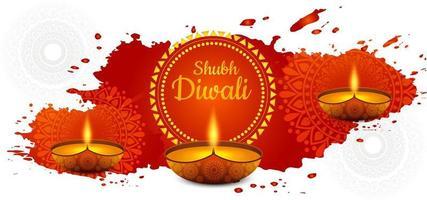 fondo de la tarjeta del festival de la lámpara de aceite feliz diwali diya