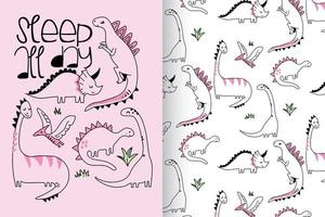 Hand drawn cute dinosaur with pattern set vector