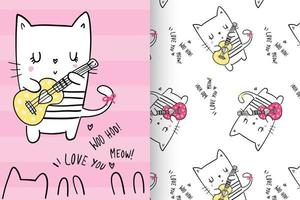 Hand drawn cute kitty with pattern set vector